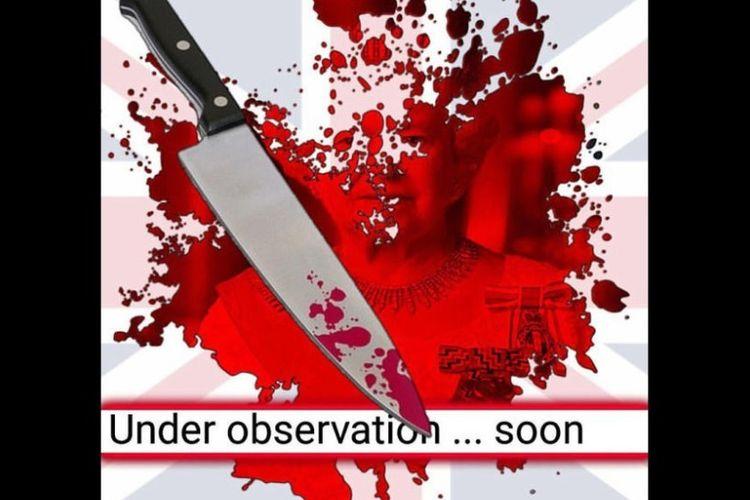 Salah satu poster yang dirilis Wafa Media Foundation menggambarkan ancaman serangan pada Inggris.