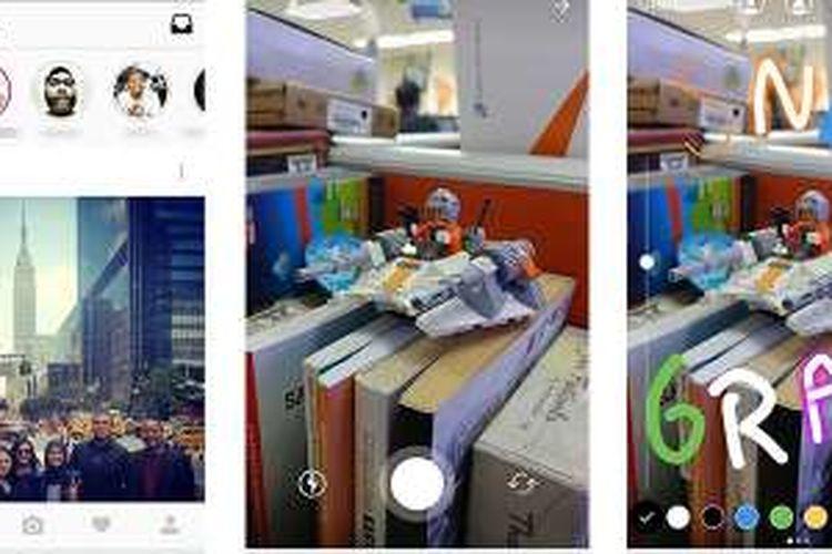 Tampilan avatar Stories di laman home Instagram (kiri) dan antarmuka pengambilan gambar. Sesudah merekam foto atau video, pengguna bisa menambahkan tulisan atau coretan.