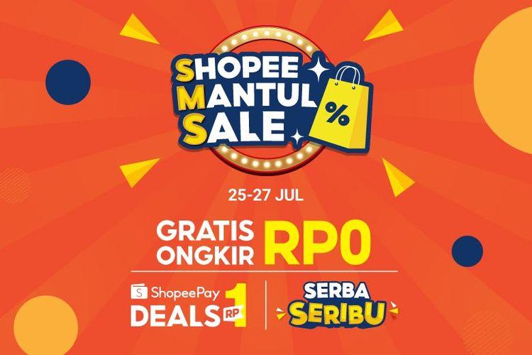 Shopee Mantul Sale menghadirkan promo ShopeePay Deals Rp 1 dan Gratis Ongkir Rp 0 yang bisa dinikmati pada 25-27 Juli 2021 medatang.
