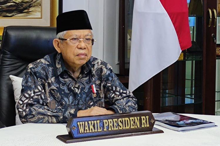 Wakil Presiden Maruf Amin saat memberikan sambutan di acara peluncuran The State of Global Islamic Economy Report 2020/2021, Selasa (17/11/2020) secara virtual.