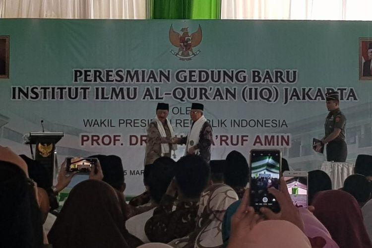 Wapres Maruf Amin saat meresmikan gedung baru IIQ di Pamulang, Tangerang Selatan, Kamis (5/3/2020).