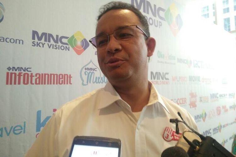 Cagub DKI Jakarta Anies Baswedan di Kebon Sirih, Jakarta Pusat, Jumat (7/4/2017).