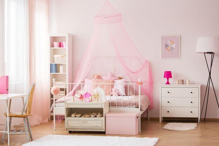 Ilustrasi kamar tidur anak perempuan.