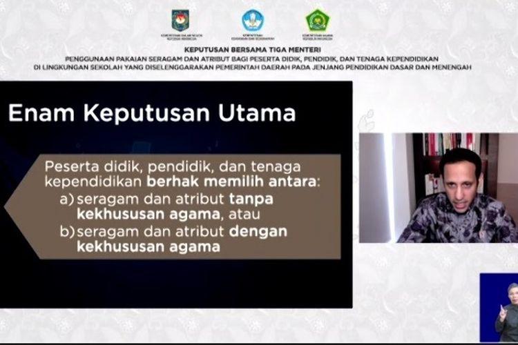Mendikbud Nadiem Makarim saat acara webinar SKB 3 Menteri terkait keputusan pakaian seragam dan atribut di sekolah negeri.