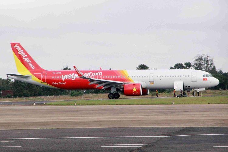 Pesawat milik maskapai VietJet yang mengalami masalah saat mendarat di Bandara Buon Ma Thout, Kamis (29/11/2018).