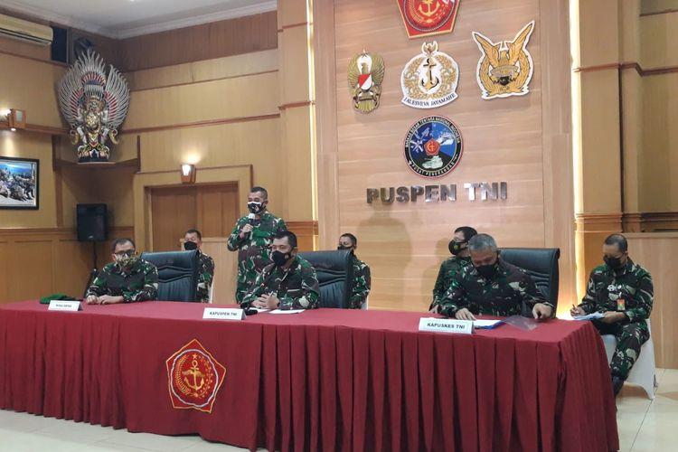 Konferensi Mabes TNI terkait Vaksin Nusantara di Mabes TNI, Cilangkap, Jakarta Timur, Senin (19/4/2021)