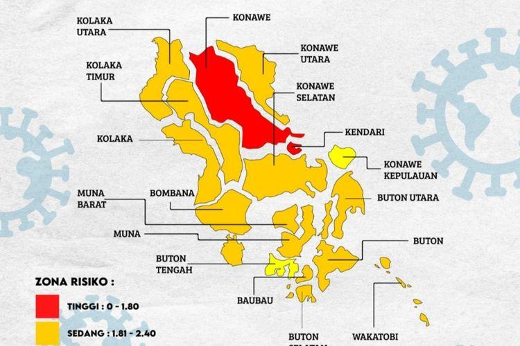Kota Kendari dan kabupaten Konawe masuk zona merah covid 19 di Sultra (Dokumen Satgas Covid 19 Sultra)
