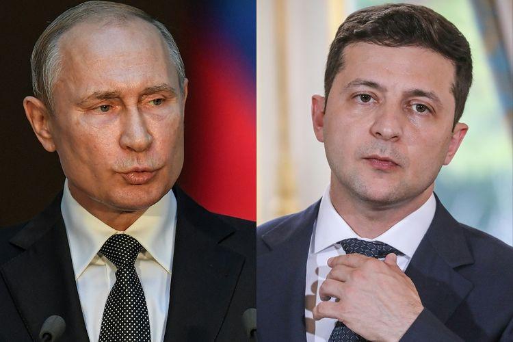 Presiden Rusia Vladimir Putin (kiri) dan Presiden Ukraina Volodymyr Zelensky.