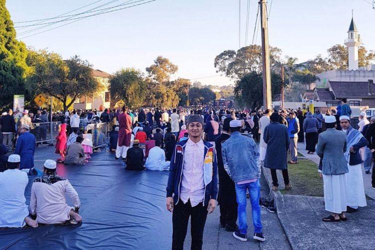 Suasana setelah shalat Id di Lakemba Mosque, Sydney, Australia, Minggu (25/6/2017) pagi waktu setempat.