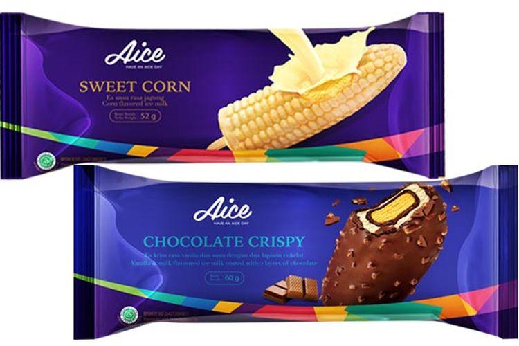 Aice Sweet Corn dan Aice Chocolate Crispy, dua produk favorit dari Aice.