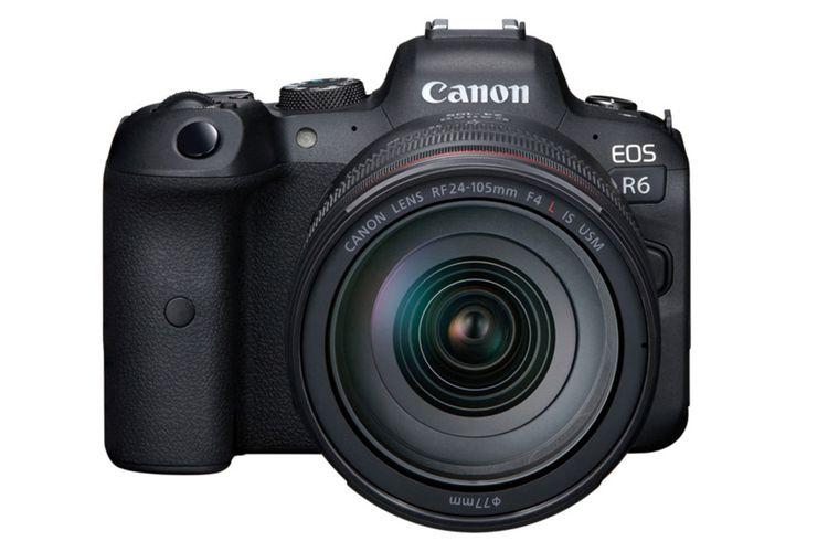 Kamera mirrorless full-frame Canon EOS R6, tampak depan