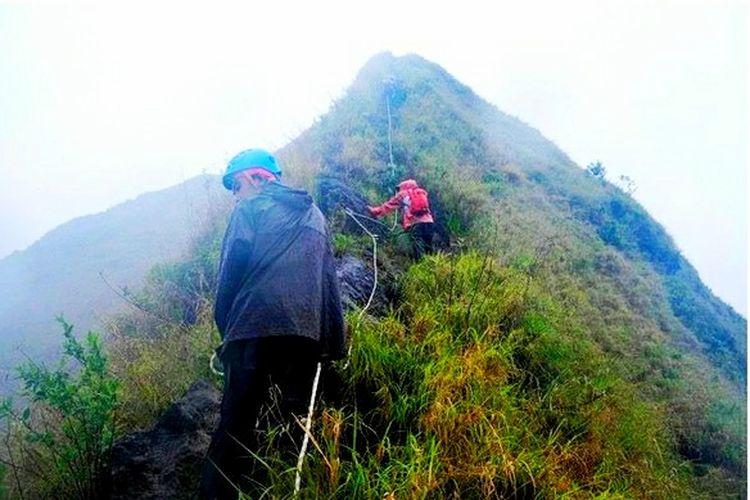 Jalur pendakian Gunung Piramid yang dilalui oleh Tim Survei dan Pemetaan Gunung Piramid di Gunung Piramid, Bondowoso, Jawa Timur, Senin (30/11/2020).