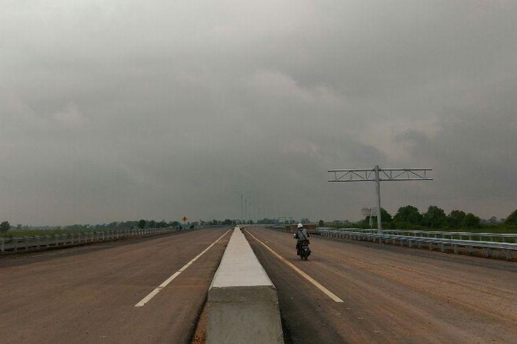 Kondisi terkini Jalan Tol Palembang-Indralaya Seksi I, Selasa (23/5/2017)