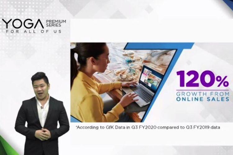Consumer Notebook 4P dan T1 Lenovo Indonesia, Kevin Adityo, memaparkan pertumbuhan bisnis Lenovo di Indonesia dalam sebuah webinar, Kamis (12/11/2020).