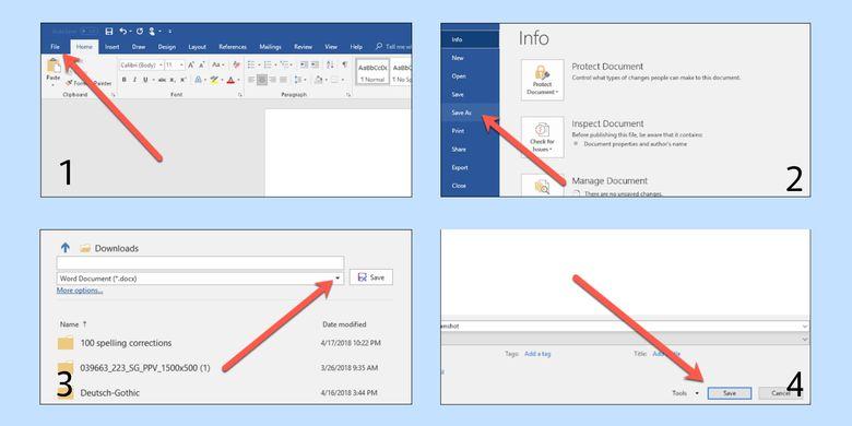 Cara konversi file Word ke PDF lewat Microsoft Word.