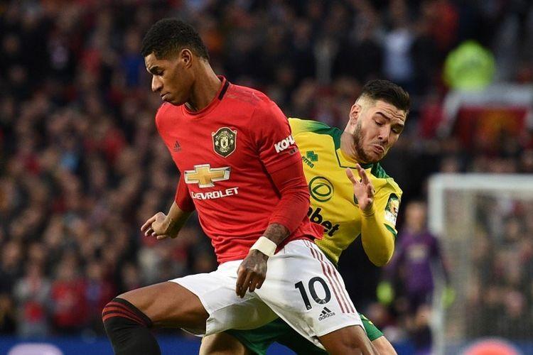 Aksi Marcus Rashford (kiri) pada laga Man United vs Norwich City di Stadion Old Trafford dalam lanjutan pekan ke-22 Liga Inggris, Sabtu 11 Januari 2020.