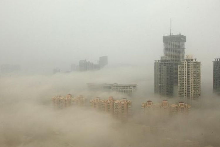 Polusi udara di kota Beijing, China.