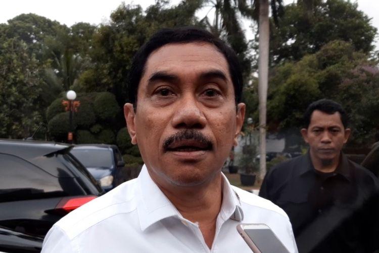Kepala Badan Nasional Penanggulan Terorisme (BNPT) Komjem Suhardi Alius usai bertemu Menko Polhukam, Mahfud MD di Kantor Menko Polhukam, Jalan Merdeka Barat, Jakarta, Senin (18/11/2019).