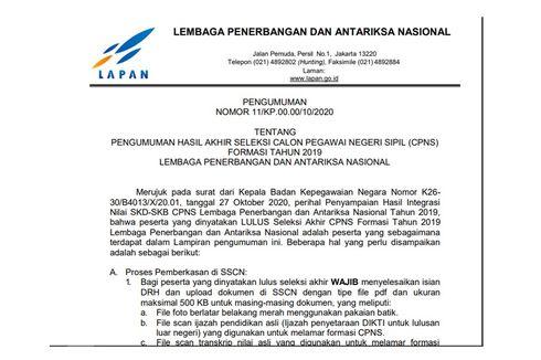 Hasil CPNS 2019 Lapan Sudah Diumumkan, Ini Link dan Informasi Pemberkasannya...