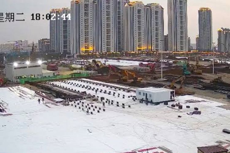 A file photo of the construction of Covid-19 designated hospital in Wuhan, Hubei Province, China dated on January 27, 2020.