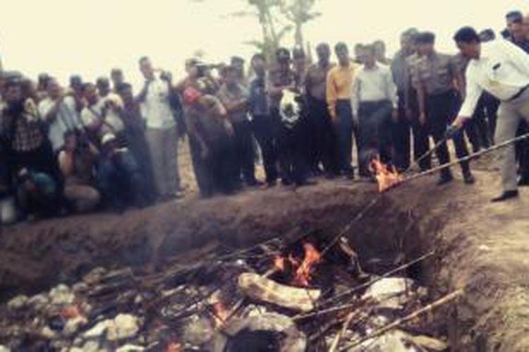 Lima ton daging trenggiling tanpa kulit dan masih kondisi beku dimusnahkan dalam satu lubang besar dengan cara dibakar. Pemusnahan ini dilakukan di areal Kawasan Industri Medan (KIM) 4 Belawan, Kecamatan Labuhan Deli, Kabupaten Deli Serdang, Rabu (29/4/2015).