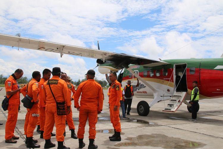 Tim SAR, pada Kamis (19/9/2019) usai melakukan pencarian pesawat Rimbun Air yang hilang kontak pada Rabu (18/9/2019).