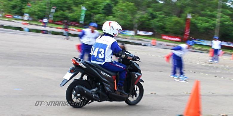 Lady biker safety riding