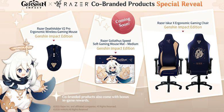 Tiga produk co-branded Genshin Impact dan Razer, berupa mouse gaming DeathAdder V2 Pro, kursi gaming Iskur, dan mouse pad Goliathus Speed Medium