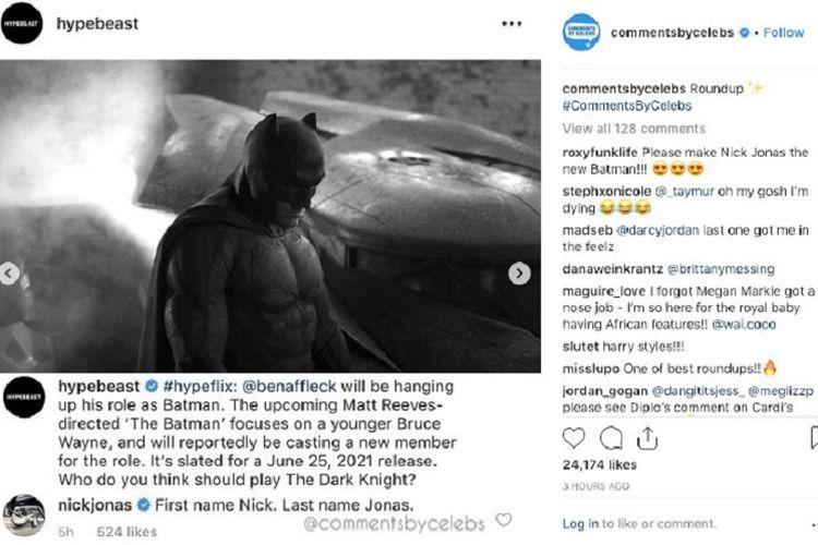 Kutipan komentar Nick Jonas di kolom komentar akun Instagram @hypebeast tentang karakter Batman.