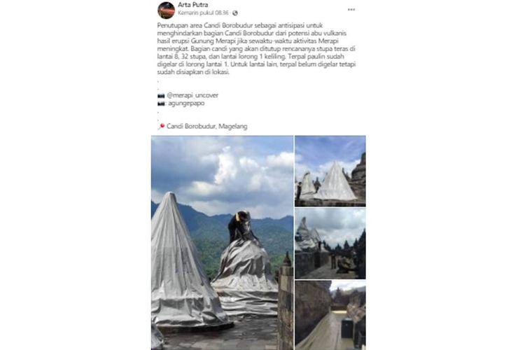 Tangkapan layar unggahan bernarasikan Candi Borobudur ditutup menggunakan terpal sebagai antisipasi erupsi Gunung Merapi.
