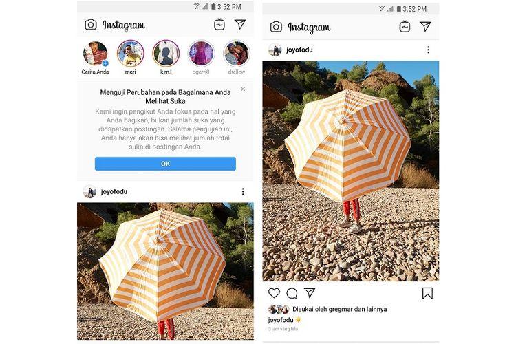 Pesan notifikasi yang muncul di beranda apabila akun Instagram masuk dalam uji coba penyembunyian jumlah likes.