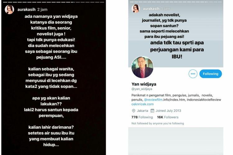 Tangkapan layar Instagram story Aura Kasih.