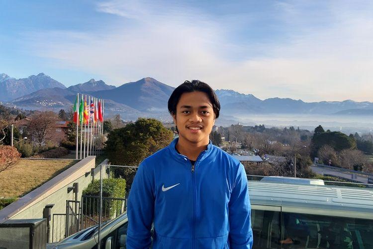 Pemain Garuda Select, Andre Oktaviansyah saat ditemui Kompas.com, di Como, Italia, Rabu (22/1/2020). Andre menjadi salah satu dari lima peserta Garuda Select I yang kembali diikutsertakan dalam program tahap kedua.