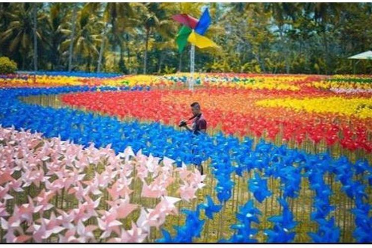 Seorang pengunjung mengabadikan momen di tenagh ribuan kincir angin di lokasi wisata Taman Dewari, Magelang.