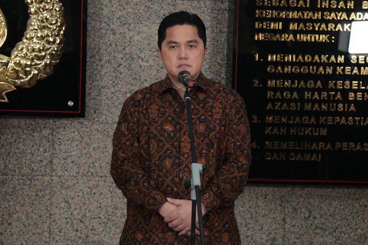Menteri BUMN Erick Thohir di Mabes Polri, Jakarta Selatan, Kamis (13/8/2020).