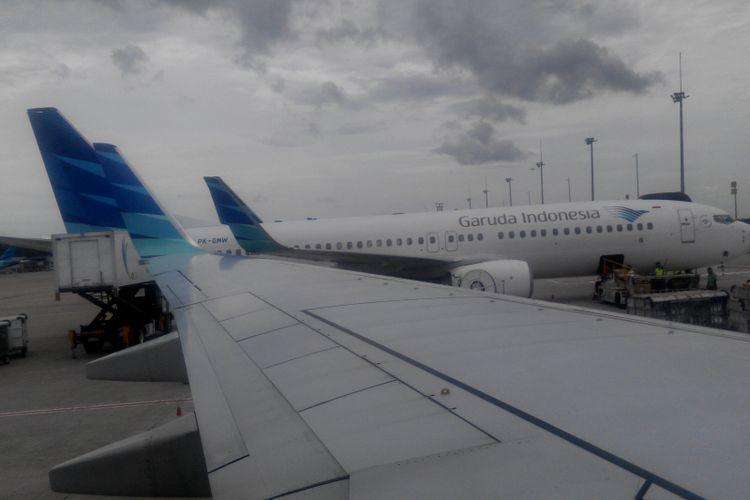 Pesawat-pesawat Garuda Indonesia di Bandara Internasional Soekarno-Hatta, Tangerang, Banten, Jumat (1/12/2017).