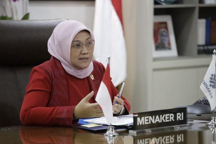 Menteri Ketenagakerjaan (Menaker) Ida Fauziyah saat menerima audiensi pimpinan Jakarta Japan Club (JJC) secara virtual di Jakarta, Rabu (30/6/2021).