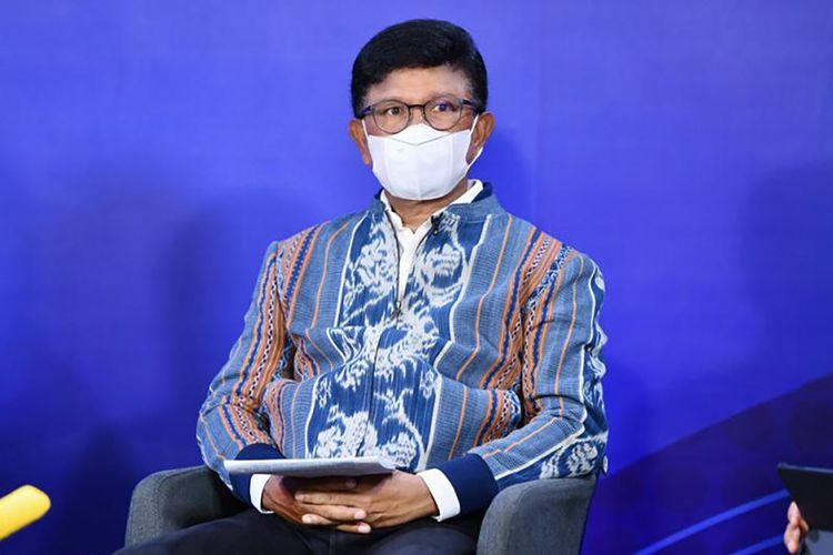 Menkominfo Johnny G. Plate dalam Diskusi Media Forum Merdeka Barat 9 (FMB 9) Jaga Keluarga, Tidak Mudik, yang digelar secara virtual dari Media Center Kementerian Kominfo, Jakarta, Rabu (05/05/2021)