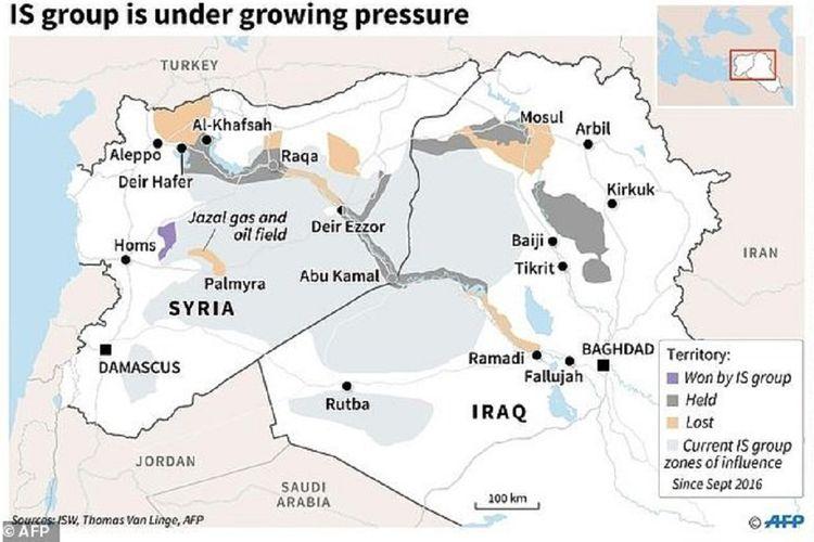 Kelompok ISIS yang menguasai Suriah kini sedang berada di bawah tekanan kuat dari militer Turki, Rusia, dan Amerika Serikat (AS)