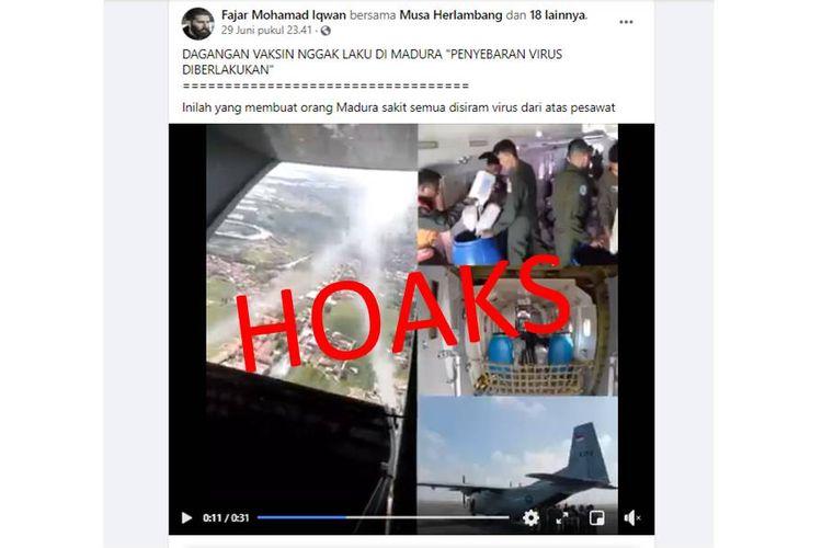Tangkapan layar hoaks Madura disiram virus