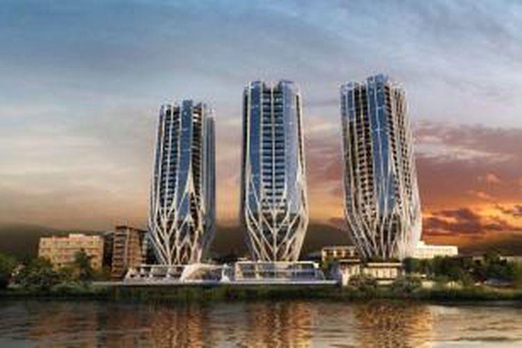 Tiga menara tersebut akan berisi 486 apartemen, delapan vila mewah, serta taman-taman hijau yang bersisian dengan sungai kota.