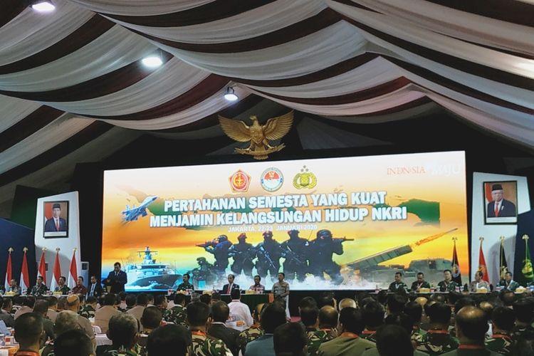 Menteri Pertahanan Prabowo Subianto saat memberikan sambutan di Rapim Kemenhan, TNI dan Polri di Kantor Kemenhan, Jakarta Pusat, Kamis (23/1/2020).