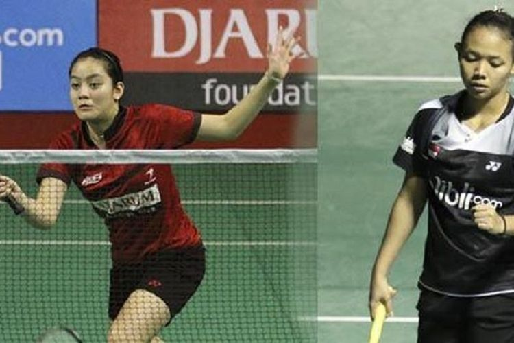 Pasangan ganda putri Indonesia, Della Destiara Haris (kanan) dan Tania Oktaviani Kusumah.