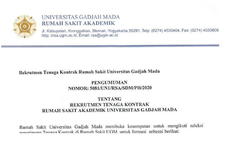 Rumah Sakit Universitas Gadjah Mada (UGM) membuka rekrutmen tenaga kontrak 2020.
