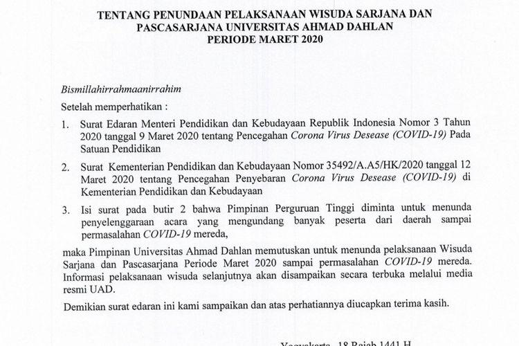 Antisipasi Corona Rektor Uad Keluarkan Surat Tunda Wisuda Maret 2020 Halaman All Kompas Com