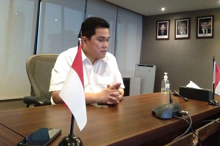Menteri BUMN Erick Thohir ketika menjelaskan konsep PT Sarinah (Persero) dalam wawancara terbatasnya di Kementerian BUMN, Jakarta, Jumat (8/5/2020).