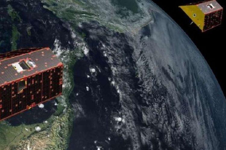GRACE bekerja dengan mengukur jarak antara dua satelit seiring mereka bertukar kecepatan karena perubahan menit dalam gravitasi