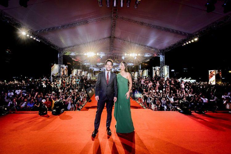 Gelaran karpet merah film Ant-Man and the Wasp digelar di National Theater and Concert Hall, Taipei, Taiwan, Rabu (13/6/2018). Dua bintang utama, Paul Rudd (Ant-Man) dan Evangelina Lilly (Wasp), hadir menyapa penggemar dalam gelaran tersebut.