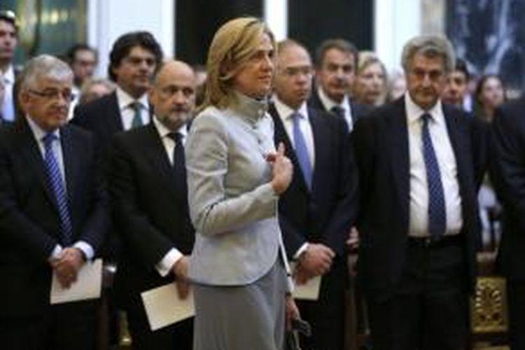 Putri bungsu Raja Juan Carlos, Cristina saat tengah menghadiri sebuah acara kenegaraan di Madrid, Spanyol, pada 2013.