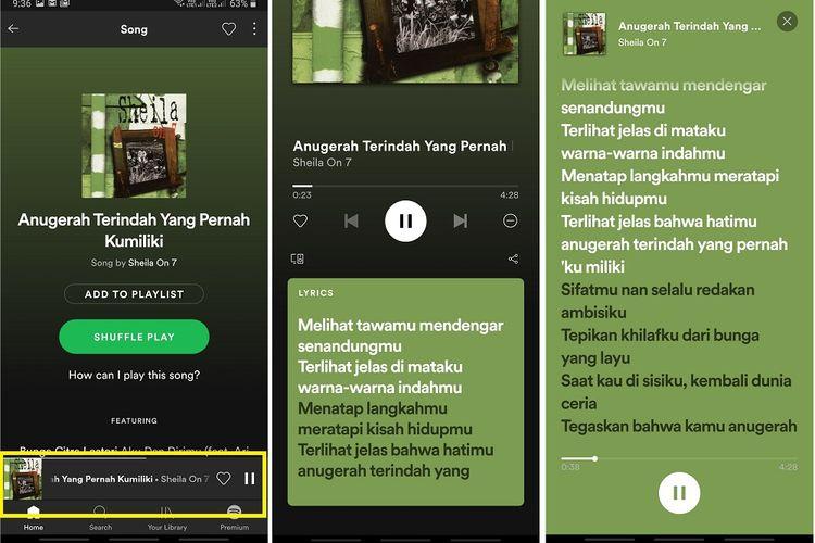 Tangkapan layar fitur lirik di Spotify